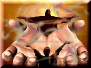 hands reaching out from Jesus to Jesus